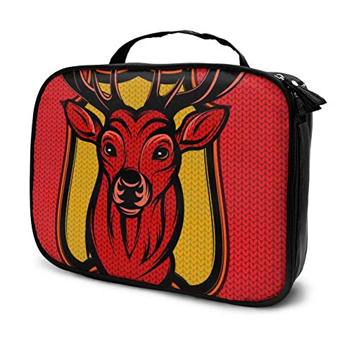 Merry Christmas Reindeer Makeup Bag Cosmetic Organizer Toiletry Beauty Case Travel Pouch