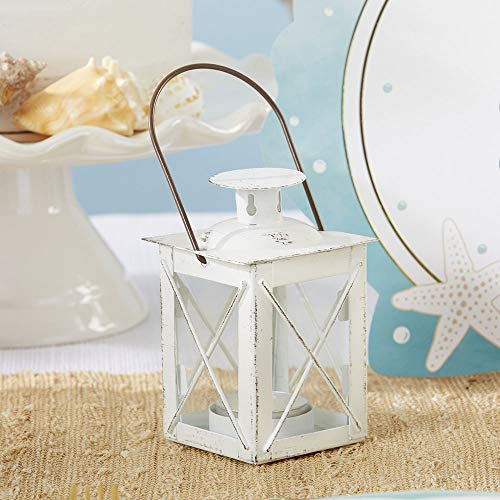 Kate Aspen Rustic Luminous Vintage Tea Light Candle Holders Metal Mini Lantern, One Size, Distressed White
