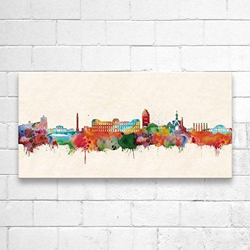 Kunstbruder Darmstadt Skyline Farbe (div. Größen) - Kunst Druck auf Leinwand 40x80cm