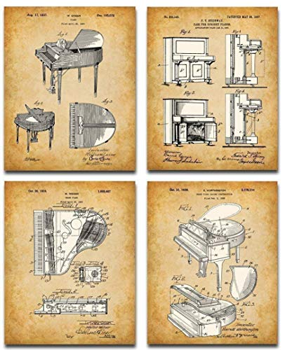 Original Piano Patent Art Prints - Set of Four Photos (8x10) Unframed - Makes a Great Music Studio Decor and Gift Under $20 for Piano Players and Music Lovers