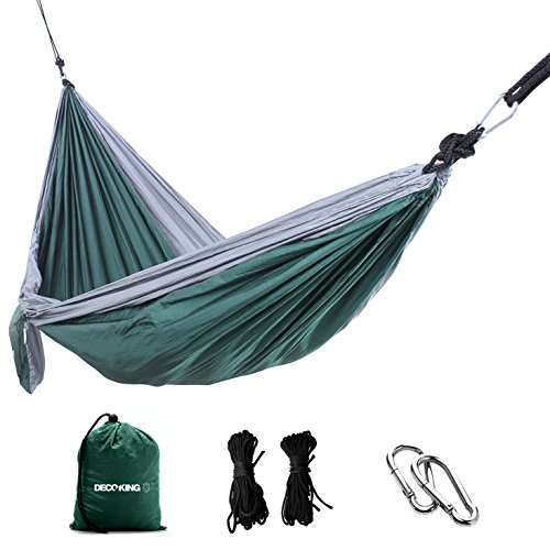 DecoKing 43257 Hangmat Outdoor 260x140 cm Ultralicht sneldrogend hangstoel hangstoel Hammock belastbaarheid tot 200 kg draagtas karabijnhaak lussen nylon groen grijs staal antraciet