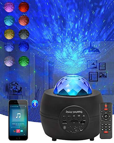 CreBeau LED Sternenhimmel Projektor Licht, mit Fernbedienung und Timer, Bluetooth Lautsprecher, Delicacy Rotierende Wasserwellen Nachtlichter für Erwachsene Zimmer Geburtstagsfeier Hochzeit