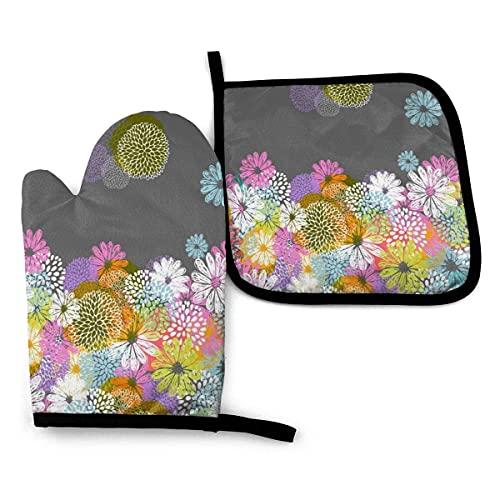 Doodle Flowers Guantes de Horno y agarradera, Guantes de Horno Resistentes al Calor, para Asar, cocinar, Hornear, Cocina (Juego de 2 Piezas)
