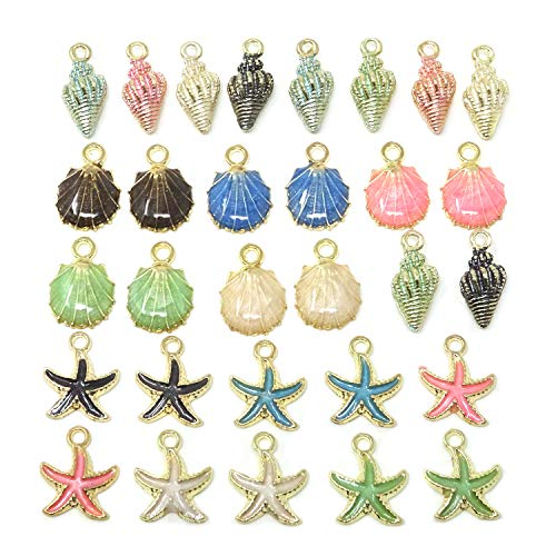 Honbay 30PCS Enamel Starfish Sea Shell Conch Charms Pendants for Jewelry Making or DIY Crafts