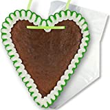 Lebkuchenherz Rohling mit Rand Grün-Weiß - 18cm | Lebkuchenherzen selber verzieren beschriften blanko Lebkuchen Herzen Rohlinge gestalten von LEBKUCHEN WELT