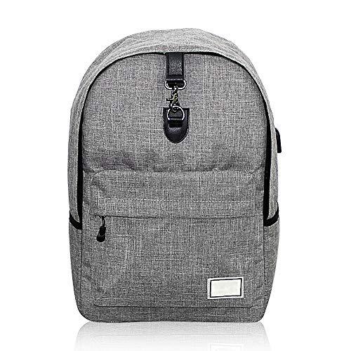 Bemodst Laptoprugzak, computer rugzak, 17 inch, waterafstotende laptoptas met USB-aansluiting voor business, school, reizen, vrouwen, mannen en vrouwen grijs