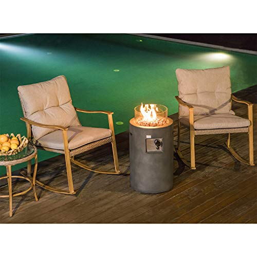 COSIEST 4-Piece Fire Table Patio Outdoor Rocking Chair Bistro Set, Warm Gray Cushions w 16-inch Round Graphite Propane Fire Pit Table (40,000 BTU) w Glass Wind Guard for Garden, Pool, Backyard