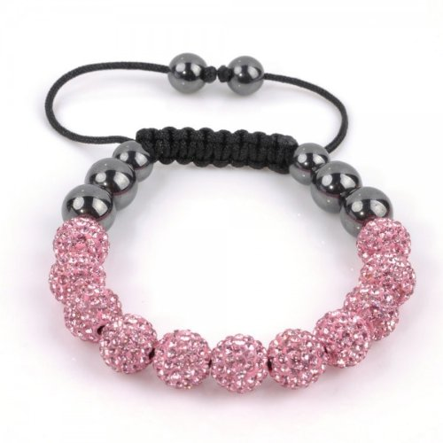 Fashion Shamballa Bracelet, 11 10mm Pink