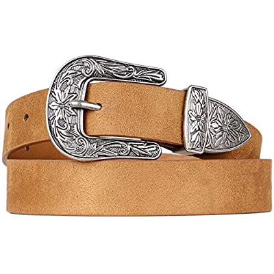 Western Belts for Women - Vintage Western Design Ladies Cowgirl Waist Belt for Pants Jeans Dresses by WHIPPY (Khaki, Fit Waist 30-34 Inches)