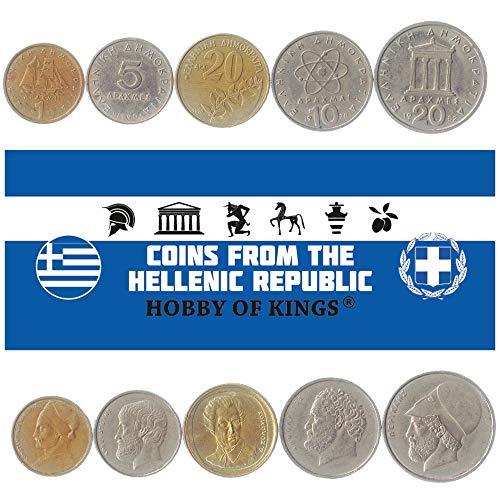 5 Monete Diverse - Vecchia, Valuta Estera Greca Da Collezione Per Collezionare Libri - Unico Set Di Soldi Del Mondo - Regali Per Collezionisti