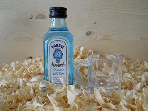 Botellin miniatura Ginebra Bombay Sapphire con vasito chupito - Pack de 6 unidades
