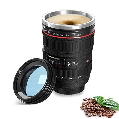 Yxaomite 300ML selbstrührender Kaffeebecher Kamera Tasse Objektiv Becher, Self Stirring Trinkbecher Doppelwandige Edelstahl Tasse Wasserflasche Kreative Tassen mit Transparentem Deckel