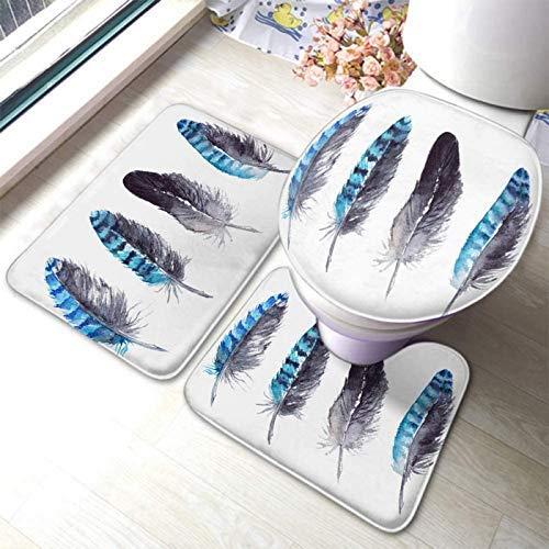 N\A Feather Jay Acuarela Arte Abstracto Arte Animal Naturaleza Negro Azul 3 Piezas Alfombra de baño Alfombra Juego de Goma-Antideslizante Alfombrilla de Inodoro Tapa de Tapa