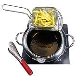Juego de freidora profunda, 3.6QT Mini olla con cesta de patatas fritas y pinzas para freír, sartén profunda de acero inoxidable con termómetro