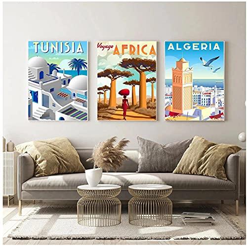 BINGJIACAI Nórdico Vintage viajes ciudades África cartel Túnez paisaje lienzo pintura pared arte imagen impresión sala de estar decoración del hogar-40x60cmx3 sin marco