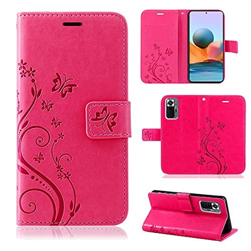 betterfon Handyhülle für Xiaomi Redmi Note 10 Pro, Hülle Redmi Note 10 Pro Flip Hülle Klapphülle Schutzhülle mit [Kartenfächern] [Qualität TPU] Kompatibel zu Xiaomi Redmi Note 10 Pro Pink