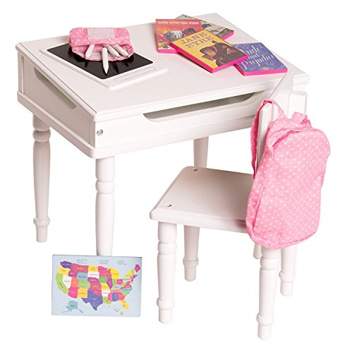 Playtime by Eimmie 18 Inch Doll Desk and Chair School Set - Classroom Accessories Included