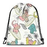 N / A Drawstring Backpack Damen Herren,Verstellbar Sport-Beutel,Kordelzug Rucksack Tasche,Jugendliche Drawstring Bag,Cartoon Elefant Blumen Kinder Zoon Sport Lagerung Polyester Tasche Schulrucksack