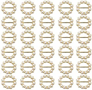 JETEHO 30Pcs Round Faux Pearl Metal Buttons Wedding Ribbon Slider for Wedding Invitations, Card Craft