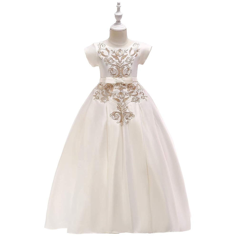 (BaQi Trade)子供ドレス ガールズドレス 女の子ロングドレス 刺繍柄 キッズ フラワーガールズ 子供フォーマル シフォン