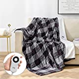 Heated Throw Electric Blanket 60'x70' Flannel Sherpa Fast Heating, 5 Heating Levels&4 Hours Auto-Shut Off, for Home Office Use, Machine Washable, ETL Certified, Coffee Plaid