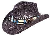 NB Schwarzer Strohhut, Westernhut, Cowboyhut mit Breiten dekorativen Hutband (M - Gr.57-59)