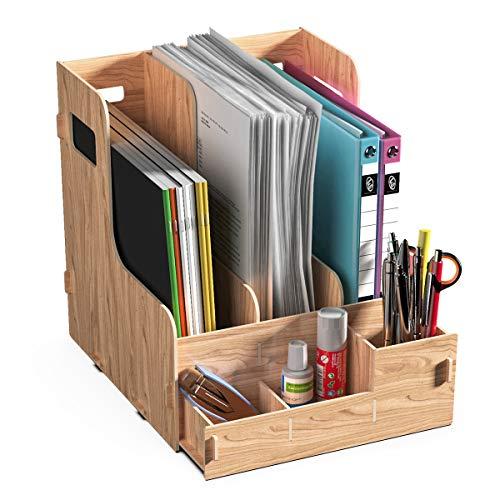 JOPOO Dokumentenablage Holz , Büro Stehsammler, Schreibtisch Organizer, Stehordner Briefablage Halter für Magazin, Ordner, File