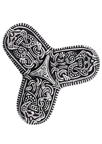 Battle-Merchant Wikinger Kleeblattfibel Tranby Gewandschließe Mystische Brosche Wikinger Gewandschmuck Fibel (Silber)