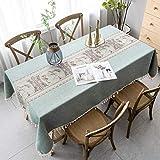 Pahajim Mantel Antimanchas Algodon Lino Elegante Impresos Manteles Resistente Borlas Table Cloth Exterior Rectangular Decorativo para Reuniones Familiares de Cocina(Verde,140x260cm)
