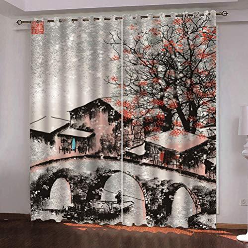 QDDRL gordijn voor ramen, woonkamer, slaapkamer, ondoorzichtig, thermo-gordijn met oogjes voor thuis, modern, 2 panelen in retro-stijl, voor kunst en cottage