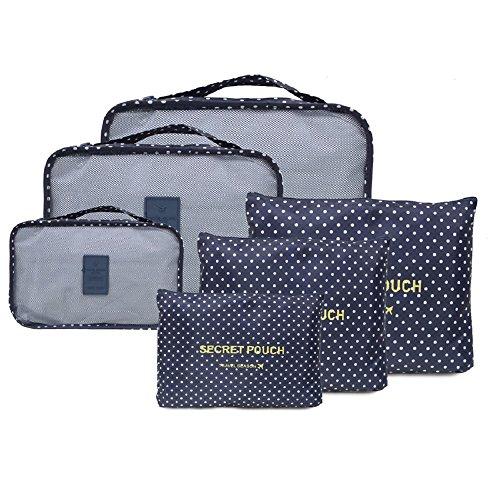 NOVAGO Set di 6 Organizzatori per valigie di dimensioni diverse, modelli colorati e stampe (Blu pois)