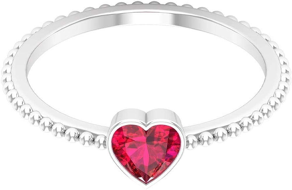 Heart Shaped Promise Rings, 5 MM Bezel Set Solitaire Ring, Beaded Rings 14K White Gold