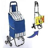 Carrito de la compra plegable para subir escaleras Carrito de la compra con 6 ruedas grandes Carrito de transporte para el comprador con tapa para pesca en camping,extraíble y resistente a la lluvia