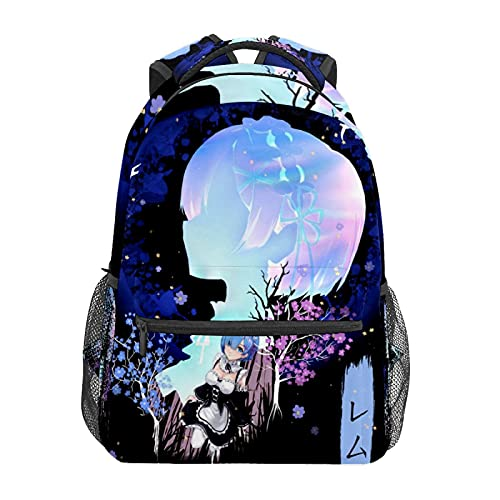 Rem SilhouetteMochila de animación japonesa para portátil bolsa de viaje resistente al agua para estudiantes; mochila moderna