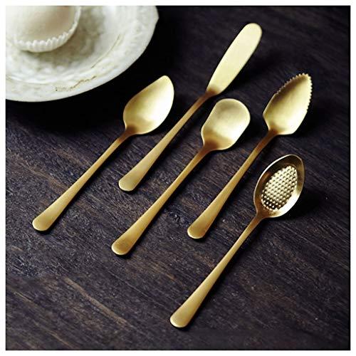 Cuchara de Mesa Cuchara retro de cinco piezas Cuchara de la cuchara de la cuchara de hielo de la cuchara del helado del té del hielo de la fruta de la sandía de la cuchara de la cuchara de la cuchara