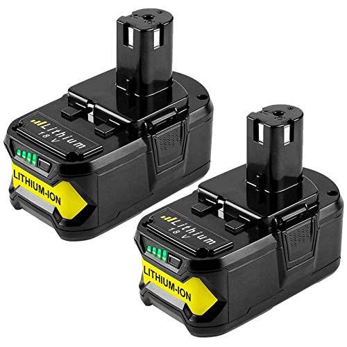 Boetpcr 2x 18V 5.0Ah Batería de reemplazo para Ryobi One+ RB18L50 RB18L40 RB18L25 RB18L15 RB18L13 P108 P107 P122 P104 P105 P102 P103 con indicador de carga LED