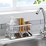 360° Ventilated Kitchen Sponge Holder Household Sink Caddy with Adjustable Panel Meozzar Stainless Steel Countertop Organizer for Kitchen and Bathroom, Auto Overflow