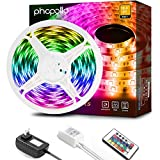 PHOPOLLO LED Strip Lights, 16.4ft RGB (No White) 3528 300LEDs Waterproof Flexible LED Lights for Bedroom with 24 Key IR Remote Controller and 12V Power Supply, Ideal for House and Holiday Decoration