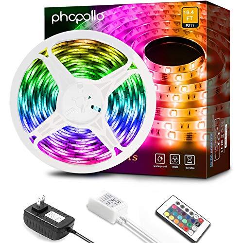 Phopollo Led Strip Lights, 16.4ft 3528 300 LEDs Flexible LED Lights with IR Remote Controller for Bedroom, Home Decoration