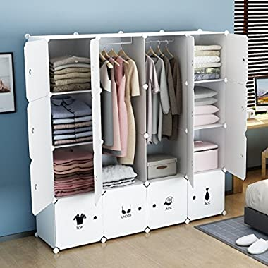 KOUSI Portable Clothes Closet Wardrobe Bedroom Armoire Dresser Cube Storage Organizer, Capacious & Customizable, White, 10 cubes&2 Hanging Sections