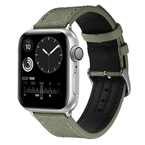 De Galen Lienzo y correa de cuero para Apple Band 4 m 40 mm iWatch Band 42 mm 38 mm pulsera deportiva compatible con Apple Series 5 4 3 40 38 42 4mm