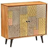 Tidyard Mueble Aparadores Vintage Aparador Cocina Aparador de Madera Maciza de Acacia 80 x 30 x 75 cm con 2 Puertas