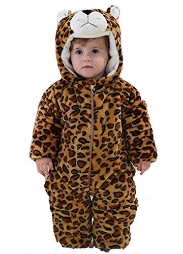 OHmais Bébé Fille garçon Unisexe Grenouillère Costume Deguisement Combinaison Pyjamas Hiver Léopard