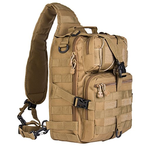 RIAVIKA 20L Small Tactical MOLLE Sling Pack - Compact and Versatile - Shoulder Pack, Backpack, Chest Pack, or Hand Carry - Military Assault Style Rucksack-Khaki