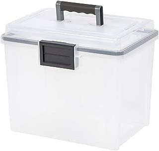 IRIS USA, Inc. UCB-HFB Letter Size Portable WEATHERTIGHT File Box, 19 Quart, Clear - 110350