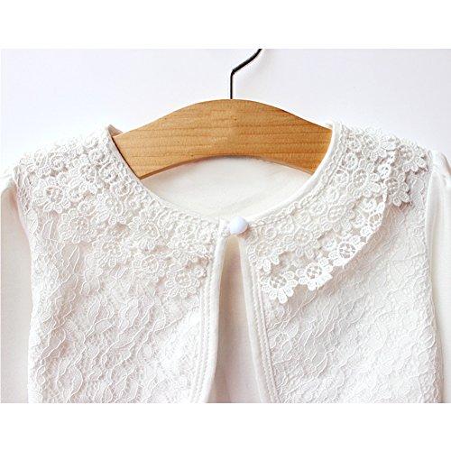 Tidecc Little Girls' Long Sleeve Lace Bolero Cardigan Shrug Button Closure Bolero Jacket Shrug Short Cardigan Dress Cover ups for 2-9 Years (Tag 100(2-3 Years), Cream White(Long Sleeve))