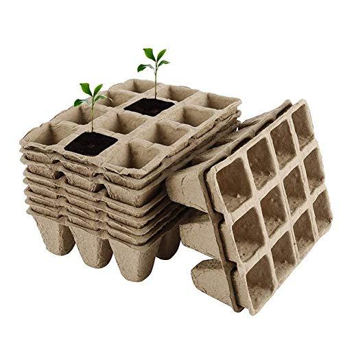 5packs turba Macetas Bandejas de semillas de arranque, la planta de semillero biodegradables Macetas de germinación las bandejas, 12 rejillas cuadradas turba macetas de plantas de semillero Entrantes