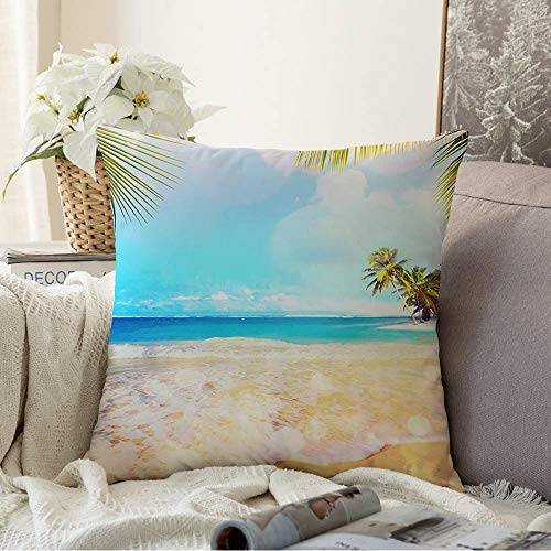 Staromem Decorative Throw Pillow Case Paradise Advertising Palms Nature Island Adventure Sky Best Hawaii Summer Tropical Travel Textures Comfortable Square Cushion Cover Pillowcase 18x18 Inch
