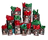42-Pc. Chalkboard Snowman Gift Bag Set - Unique Winter Christmas Design for Kids and Adults - 14 Small, Medium, and Large Bags with 28 Red and Green Tissue Papers - Best for Presents and Party Favors
