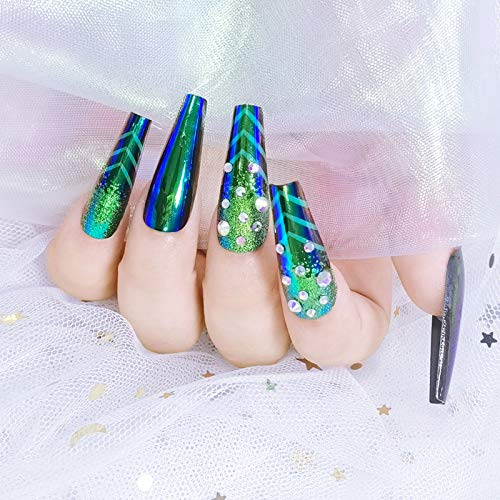 Umillars 24pcs Glitter Glossy Acrylic Coffin False Nails Full Cover UV Topcoat Fake Nails Tips Natural Long False Nails for Ballerina Cosplay Office Lady Nail Art(Coffin-peacock)